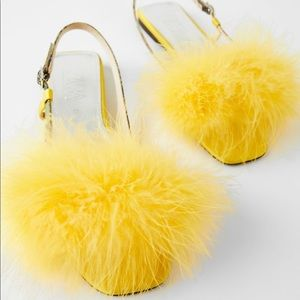 Zara flat feather sandals yellow blue collection